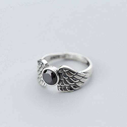 Golden_flower S925 Silberring Mode Thai Silber Retro Flügel Öffnen Ring Temperament Klassischen Schwarzen Diamant Zeigefinger Ring, S925 Silberring, Öffnung einstellbar