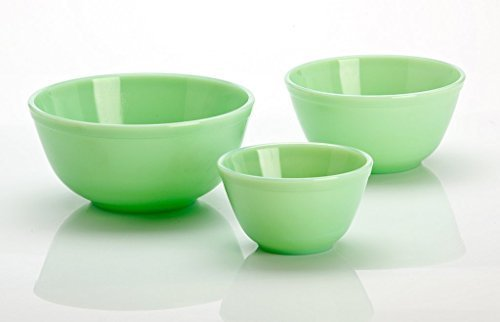 3 Piece Set Hand Made Jade Green Milk Glass Mixing Nesting Bowls by Mosser Glass Glas Nesting Bowls