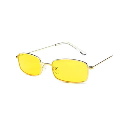 FGRYGF-eyewear2 Sport-Sonnenbrillen, Vintage Sonnenbrillen, Metal Frame Sunglasses Men Retro Small Square Sun Glasses Women Yellow Lens Small Cat Eye Sunglass Female Shades Eyeglass YELLOW