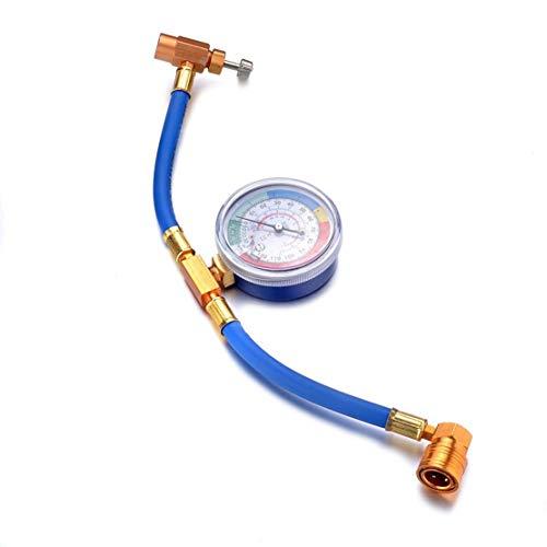 Lethend 1 Stück R134A Klimagerät Fluorid Rohr Kältemittel Addition Tube mit 250 PSI Kühldruckmessgerät -