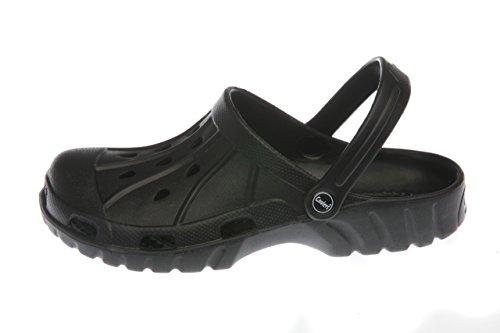 für Männer: Leichtgewichtige Luftdurchlässig Garten Pantoffeln Kaki/Schwarz Größen 7 bis 12 Schwarz