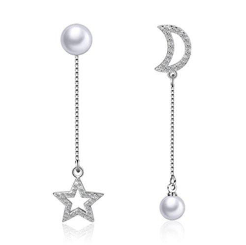 Wunhope Ohrringe Damen Mädchen 925er Sterling Silber Mode Troddel lange Sterne Mond mit Perle Einfache Edel Hypoallergen Stecker ohrhänger