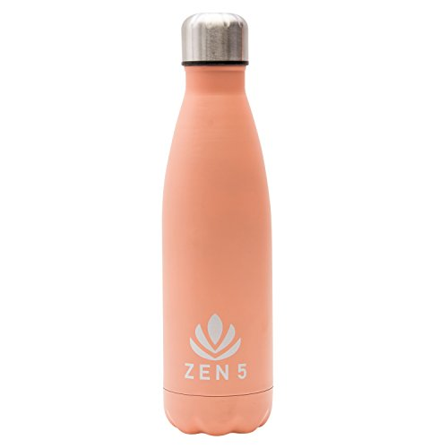 Zen 5 vakuumisolierte Edelstahl-Doppelwandige BPA-freie Wasserflasche, wiederverwendbar, 17 oz - hält Getränke für 24 Stunden heiß oder kalt, Peach Echo, 1 Pack -