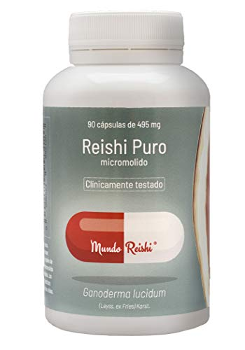 Reishi puro en Cápsulas. Único reishi de Europa clínicamente testado. Micromolido: hasta un 300% más absorción. 90 cap.