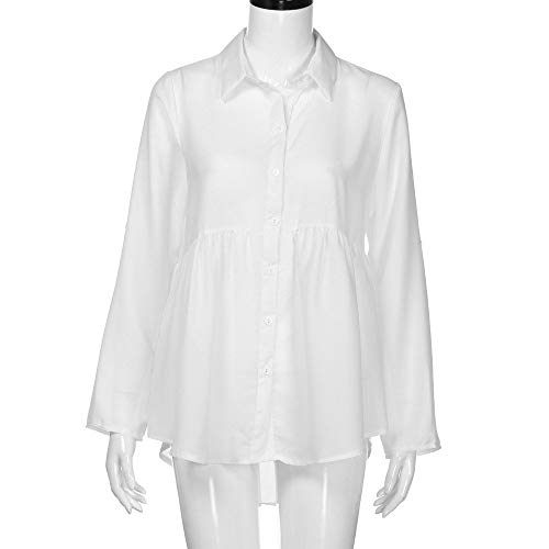 HGWXX7 Women's T-Shirt Button Long Sleeve Chiffon Work Tops Blouse XXX-Large White