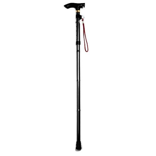 SODIAL (R) Piegare pieghevole Bastone da passeggio regolabile in alluminio leggero Non Slip Cane Polo -