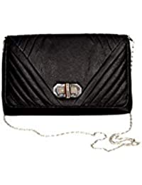 Resegno Women's Leather Sling Bag Black R01