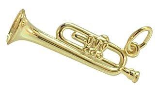 Trompete Flügelhorn Anhänger 3D echt 14 Karat Gold 585 (Art.205046)