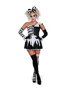 Karnival Costumes- Evil Harlequin Girl Disfraz, Color negro y blanco, Small (81242)
