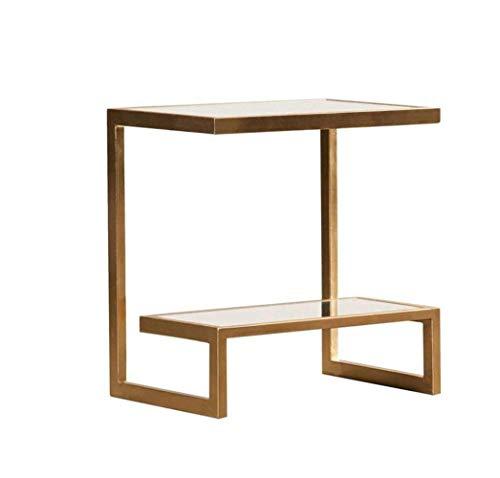 XSSD002 Moderne Kreative Mode, Rechteckiger Tisch, Wohnzimmer Sofa Seitenschrank, Goldene Ecke, Mehrere Nachttische, Einfache Metall Couchtisch,Gold,A -