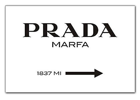 Modeschild Wegweiser zum konsumkritischen Marfa Kunstwerk in Texas - Leinwandbild