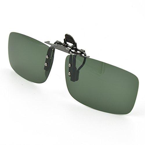 Besgoods Sport-Sonnenbrille, polarisiert, zum Anklipsen, Metallclip, zum Aufklappen, Angeln, Radfahren, Outdoor, Gelb (dunkelgrün), Medium