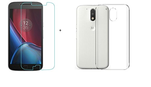 Moto G4 plus Combo offer Stadum Tempered Glass With Rubberized Back cover