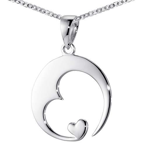 Materia Damen Herz-Anhänger Silber 925 rhodiniert Schmuck Liebe mit Halskette 45 cm inkl. Geschenk-Box #KA-16-K30-45cm