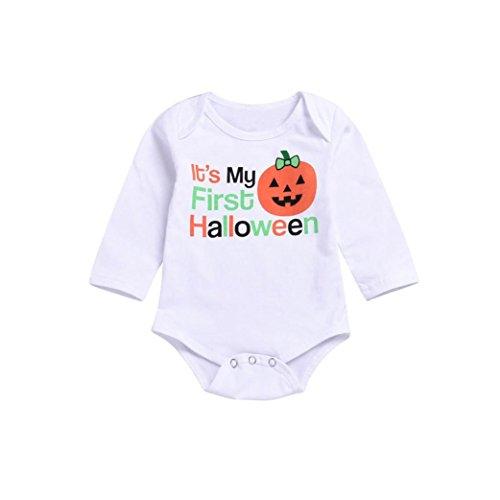0-24 Monate Unnisex Baby Spielanzug Neugeborenes Baby Mädchen Halloween Stoff Lange Hülsen Karikatur Buchstabe Spielanzug Overall (Weiß, 6-12Monate) ()
