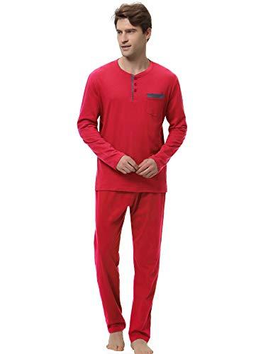Schwarze Fleece Pyjama-hosen (Aibrou Herren Pyjama Schlafanzug Baumwolle Set Nachtwäsche Hausanzug Zweiteilig Lange Hose Oberteil Langarm Rot XXL)