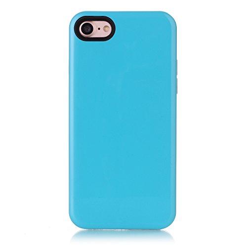 Voguecase® für Apple iPhone 7 Plus 5.5 hülle, Schutzhülle / Case / Cover / Hülle / TPU Gel Skin (Marmor/Schwarz) + Gratis Universal Eingabestift 2-in-1 PC+TPU/Blau