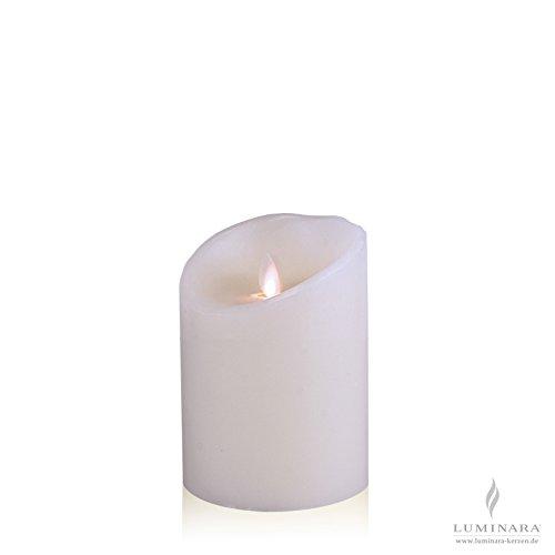 Luminara–Vela de cera con led (10x 14cm Color Blanco fernbedienbar lisa