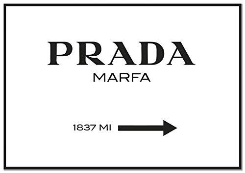 Panorama Poster Prada Marfa Blanc 30x21cm - Imprimée sur Poster de Haute qualité de 250gr - Tableau Phrase Citation - Prada Marfa - Décoration Murale - Affiche Noir et Blanc