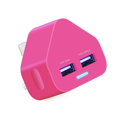 Ameego Dual 2AMP/2000mAh Rapid Double Speed Universal USB Charger With Smart IC UK Plug For iPhone / iPad / iPod / Samsung Galaxy Tab / HTC / Windows Phone / Tablet & USB Socket Devices - Hot Pink