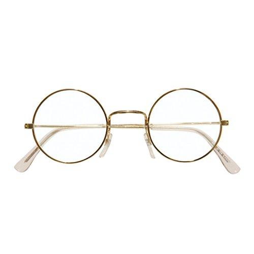 Weihnachtsmannbrille Runde Goldrand Weihnachtsbrille gold Santa Claus Brille (Santa Brille Runde)