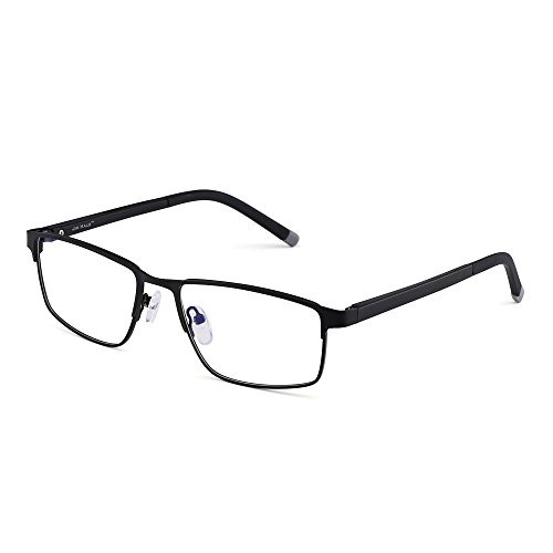 JIM HALO Rechteck Optischer Rahmen Brille Federscharnier Metall RX-fähig Brillen Klar Linse(Schwarz/Klar)