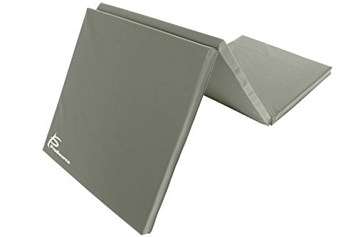 ProSource Tri-Fold Dicke Übungsmatte, Faltbar 15,2x 5,1cm mit Tragegriffen für MMA, Gymnastik, Stretching, Core Workouts, Grau (Everlast Home Gym)