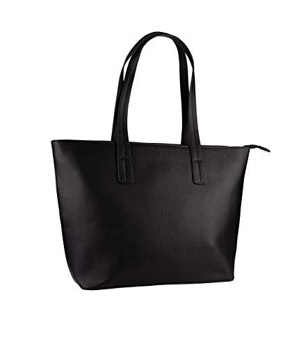 SIX Damen Tasche, Handtasche, großer Shopper, schwarz mit goldenem Verschluss, DREI kleine Innentaschen (726-558) -
