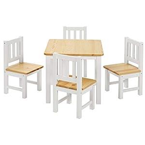BOMI Stabile Kindersitzgruppe | Baby Möbel Set 4 Stühle und Tisch Amy | aus Kiefer Massiv Holz für Kleinkinder ab 36…