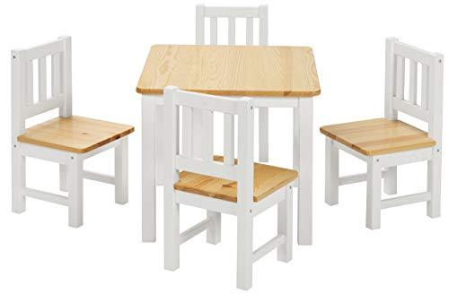 ♥ BOMI Stabile Kindersitzgruppe   Baby Möbel Set 4 Stühle und Tisch Amy   aus Kiefer Massiv Holz für Kleinkinder ab 24 Monate bis 6 Jahre - Spiel, Stühlen Erwachsenen Mit Tisch