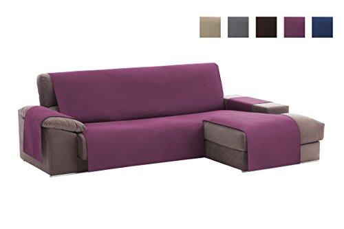 Textilhome - Copridivano Salvadivano Chaise Longe ADELE - Color Malva -BRACCIOLO DESTRO - Protezione per divani imbottiti - . Dimencione 240cm -(VISTO DI FRONTE).