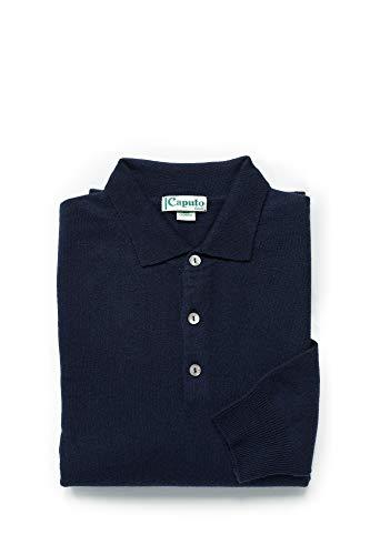Maglia uomo collo a camicia 100% puro cachemere - Disponibili taglie forti - Assenza di cuciture per maggiore comfort - Sottogiacca polo 3 bottoni - Collezione 2018 - Caputo basic