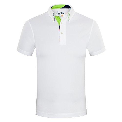 EAGEGOF Herren Polo Shirts Golf Funktional T-Shirt AN016, Weiß - XL