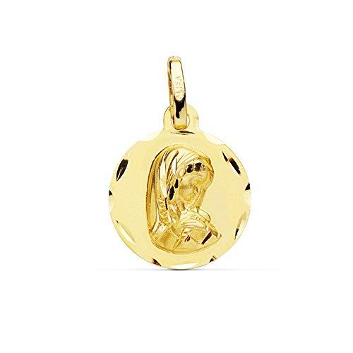 Medalla Oro 18K Virgen Niña 14mm. Redonda Lisa Borde Tallado - Personalizable - Grabación Incluida En El Precio