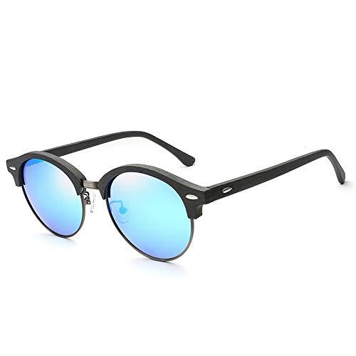 Easy Go Shopping Frauen Männer Mode Vintage Holzmaserung Cat Eye Sonnenbrille Runde Rahmen Platte Polarisierte Sonnenbrille Für Sonnenbrillen und Flacher Spiegel (Color : 02Blue)