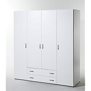 Stella Trading Base  4-türiger Kleiderschrank, Holz, weiß, 52 x 160 x 177 cm
