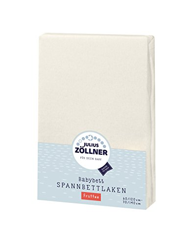 Julius Zöllner 8300113230 - Spannbetttuch Frottee für Kinderbett, Größe: 60x120 cm / 70x140 cm, Farbe: ecru -