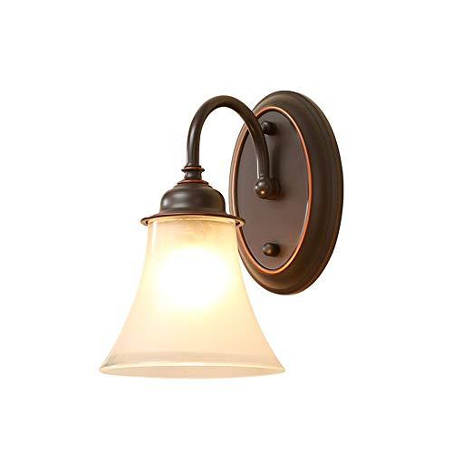 ● * Europäische Industrielle Vintage Wandleuchte Wandleuchten Einzigen Kopf Metallfarbe Wand Montiert Sicherheitsleuchten mit Glas Lampenschirm Loft Bar Küche Insel Wandleuchte Flur Wandlaterne (Schwa