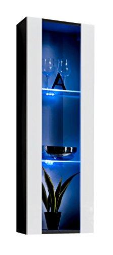 Vetrinetta sospesa modello zarco nero bianco con led - larghezza: 40cm x altezza: 126cm x profondità: 29 cm
