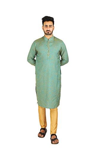 Thaath Men's Green & Gold Ethnic Kurta-Churidar Set