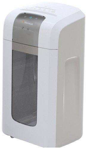 Bonsaii 4S23 Aktenvernichter, bis zu 8 Blatt Papier, Mikroschnitt (Sicherheitsstufe P-5), mit CD - Shredder, 2 Stunden Dauerbetrieb (entspricht ca. 4500 DIN A4 Seiten) - geeignet für Datenschutz nach neuer Verordnung (DSGVO 2018), weiß/silber