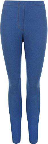 WearAll - Legging de tout son long apparence du jean - Leggings - Femmes - Grandes Tailles 42 à 56 Bleu royal