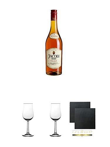 Jacobi 1880 VSOP Weinbrand 0,7 Liter + Nosing Gläser Kelchglas Bugatti mit Eichstrich 2cl und 4cl 1...