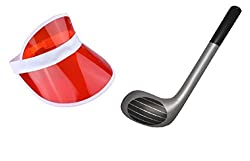 Fancy Dress Visor Golf Hat With Novelty Inflatable/ Blow Up Golf Club-Red from Generic