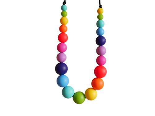 Rainbow Silicone Teething Necklace Breastfeeding Baby Nursing 21 Beads BPA Free, Hand-Made by MilkMama 31qsegImDLL