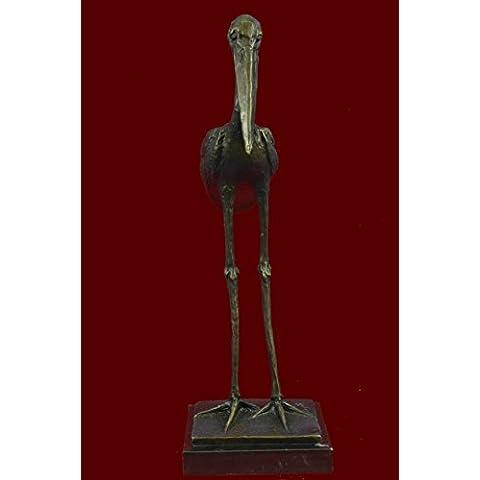 Statua di bronzo Scultura...Spedizione Gratuita...Rembrandt Bugatti Stork uccello esotico(AL-162-JP)Statue Figurine Figurine Nude per ufficio e (Esotico Uccello Figurine)