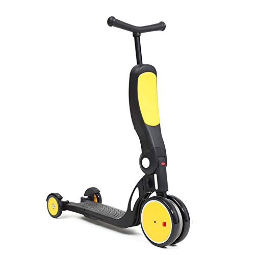 Roller- Gelber 5-in-1-Kinder-Roller, Aufsitz-Balance-Trike mit Pedal Und Sitz, 3-Rad-Roller für Jungen/Mädchen/Kleinkinder, Höhenverstellbar
