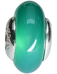 """'Bona Roca Bead piedras preciosas Rondelle """"Verde Ágata 4,5mm Paso, Plata de ley, 2024"""