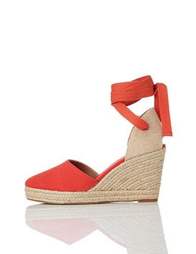 find. Wedge Close Toe Canvas Espadrille Sandalias Punta Cerrada, Rojo Red, 40 EU