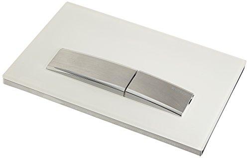 Geberit Sigma50 Betätigungsplatte, hochwertige Drückerplatte für Zwei-Mengen-Spülung, weiß (weiß alpin) mit gebürstetem Chrom, Art.Nr. 115.788.11.5